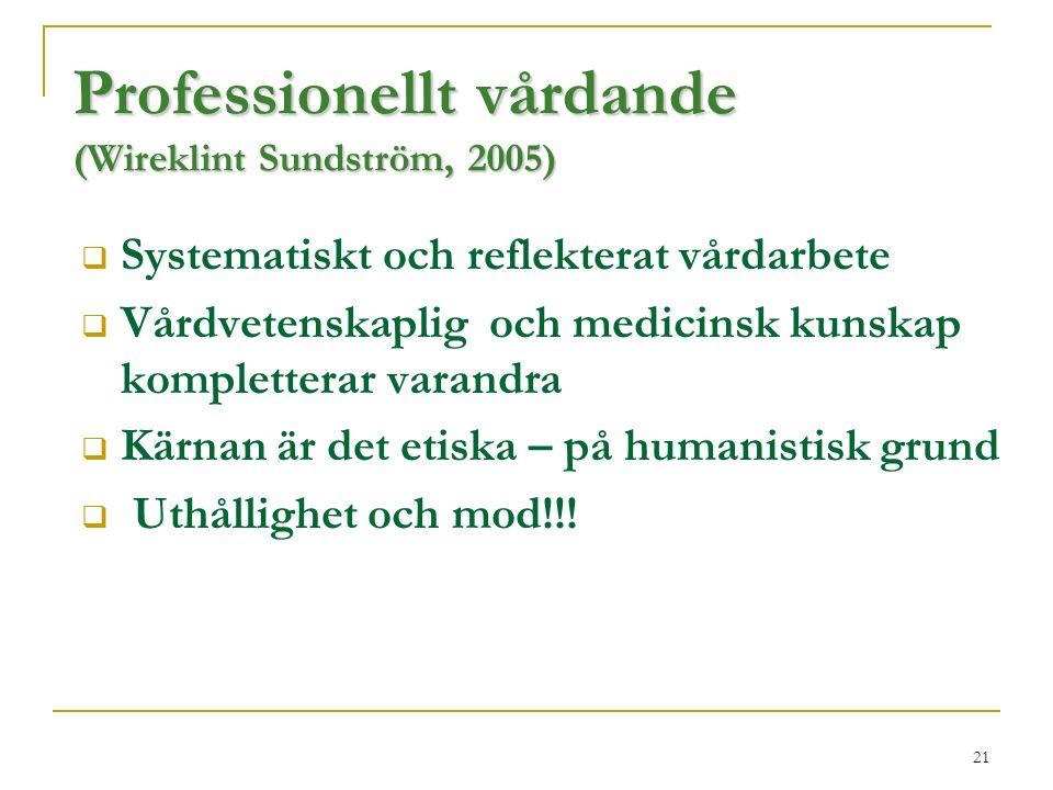 21 Professionellt vårdande (Wireklint Sundström, 2005)  Systematiskt och reflekterat vårdarbete  Vårdvetenskaplig och medicinsk kunskap kompletterar varandra  Kärnan är det etiska – på humanistisk grund  Uthållighet och mod!!!