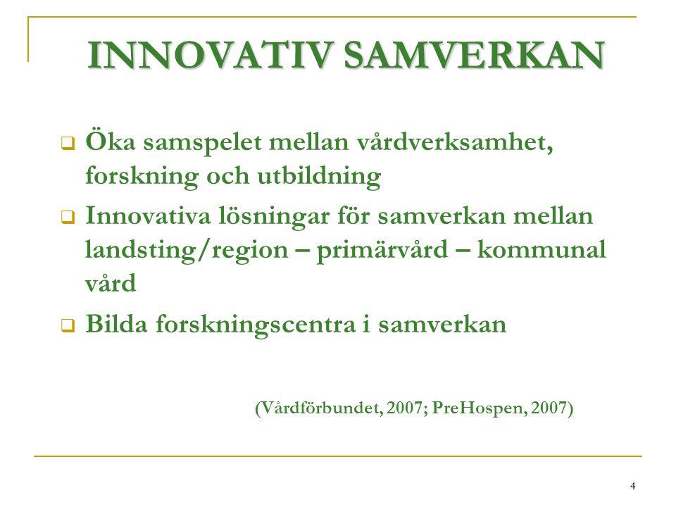 4 INNOVATIV SAMVERKAN  Öka samspelet mellan vårdverksamhet, forskning och utbildning  Innovativa lösningar för samverkan mellan landsting/region – primärvård – kommunal vård  Bilda forskningscentra i samverkan (Vårdförbundet, 2007; PreHospen, 2007) 4