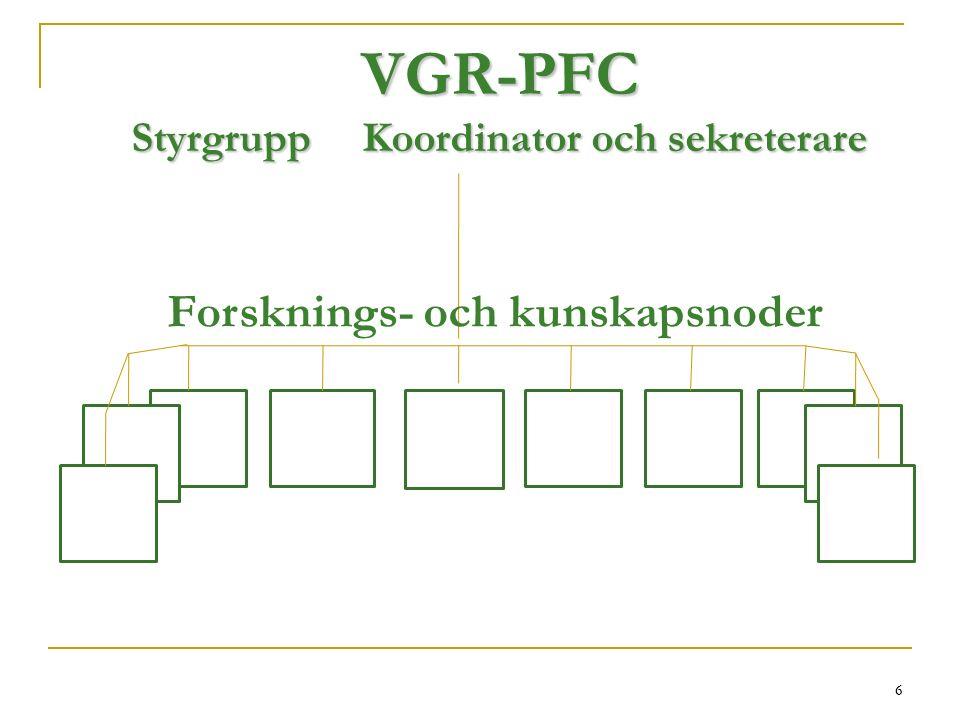 6 VGR-PFC Styrgrupp Koordinator och sekreterare 6 Forsknings- och kunskapsnoder