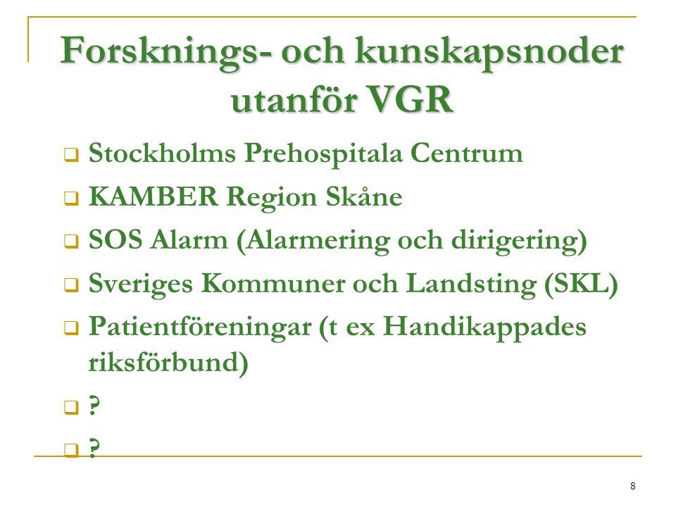 8 Forsknings- och kunskapsnoder utanför VGR  Stockholms Prehospitala Centrum  KAMBER Region Skåne  SOS Alarm (Alarmering och dirigering)  Sveriges Kommuner och Landsting (SKL)  Patientföreningar (t ex Handikappades riksförbund)  .