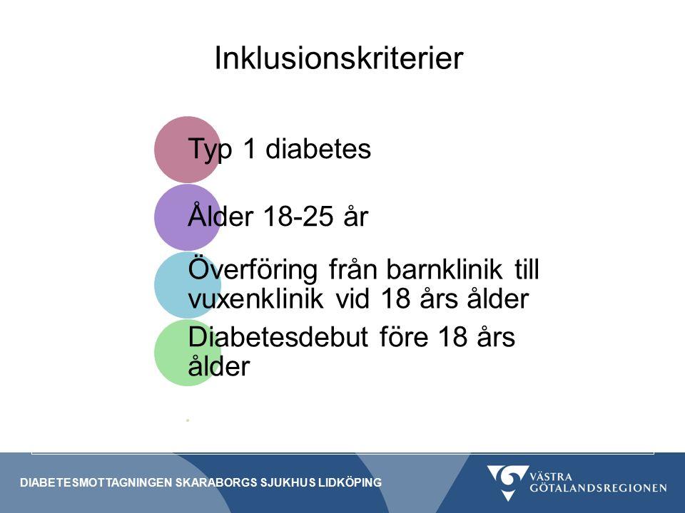 Inklusionskriterier DIABETESMOTTAGNINGEN SKARABORGS SJUKHUS LIDKÖPING