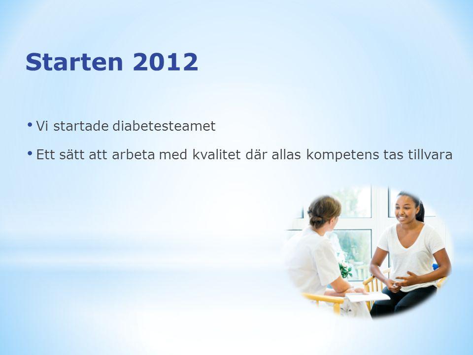 Starten 2012 Vi startade diabetesteamet Ett sätt att arbeta med kvalitet där allas kompetens tas tillvara