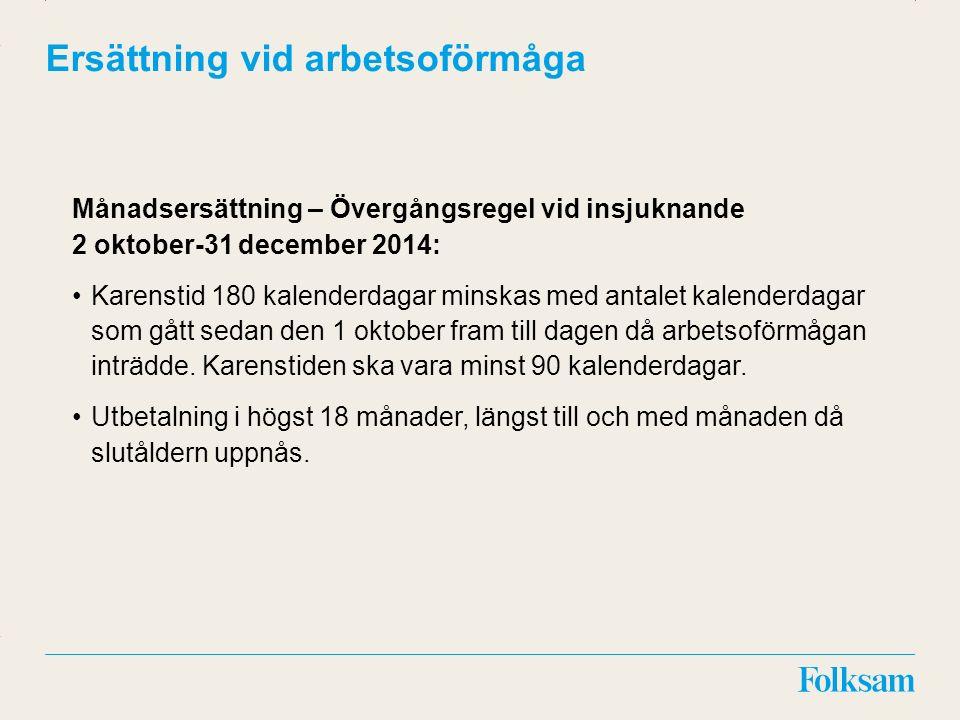 Innehållsyta Rubrikyta Ersättning vid arbetsoförmåga Månadsersättning – Övergångsregel vid insjuknande 2 oktober-31 december 2014: Karenstid 180 kalen