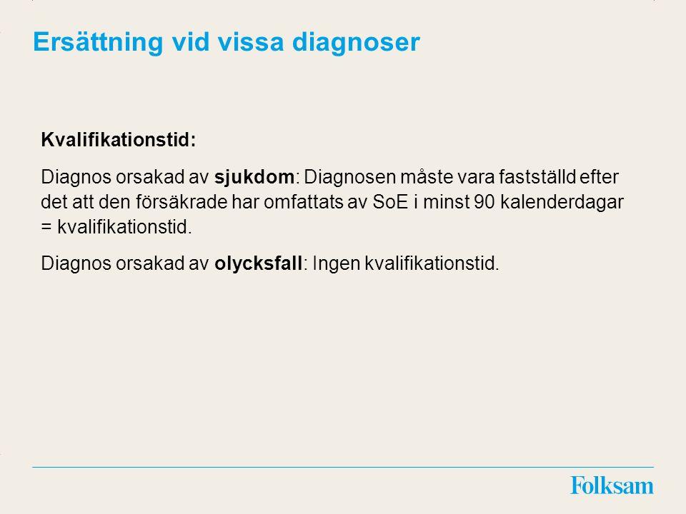 Innehållsyta Rubrikyta Ersättning vid vissa diagnoser Kvalifikationstid: Diagnos orsakad av sjukdom: Diagnosen måste vara fastställd efter det att den