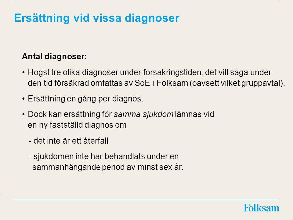 Innehållsyta Rubrikyta Ersättning vid vissa diagnoser Antal diagnoser: Högst tre olika diagnoser under försäkringstiden, det vill säga under den tid f