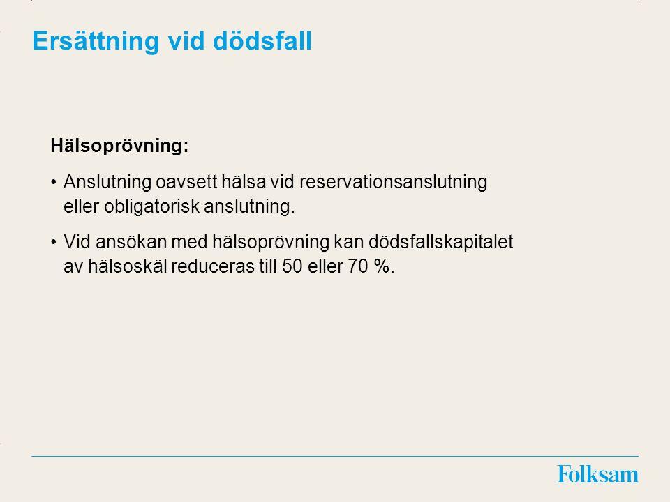 Innehållsyta Rubrikyta Ersättning vid dödsfall Hälsoprövning: Anslutning oavsett hälsa vid reservationsanslutning eller obligatorisk anslutning. Vid a