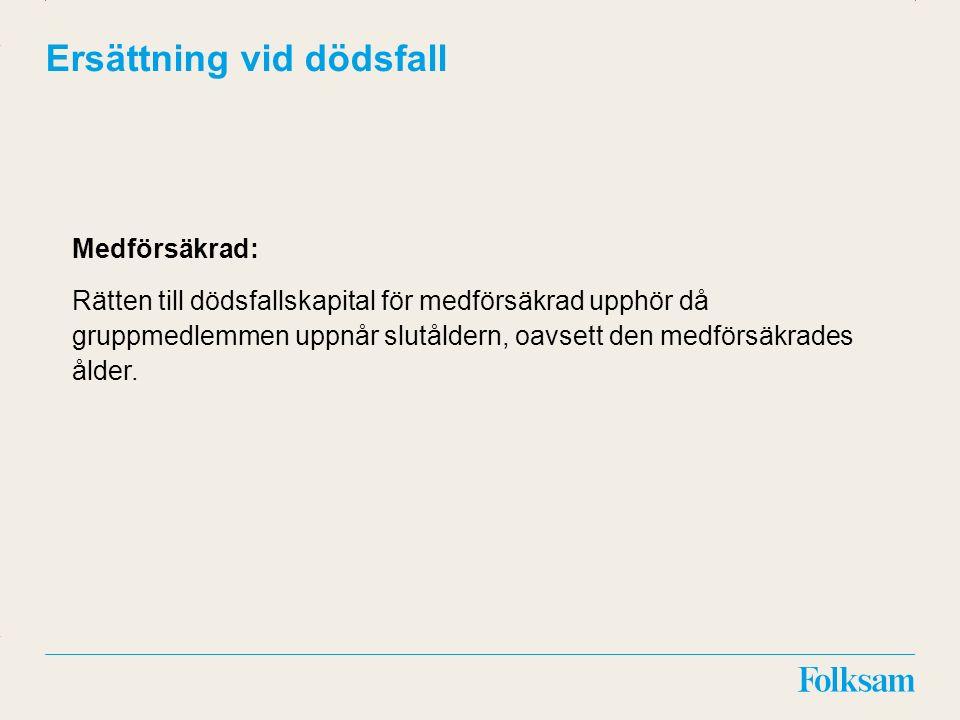 Innehållsyta Rubrikyta Ersättning vid dödsfall Medförsäkrad: Rätten till dödsfallskapital för medförsäkrad upphör då gruppmedlemmen uppnår slutåldern, oavsett den medförsäkrades ålder.