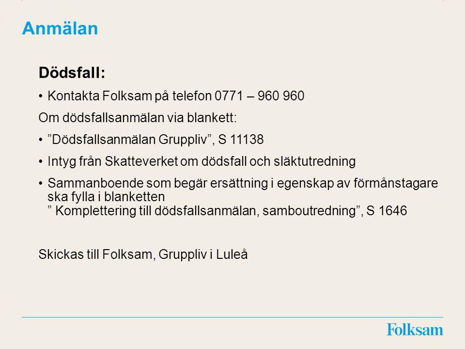 """Innehållsyta Rubrikyta Anmälan Dödsfall: Kontakta Folksam på telefon 0771 – 960 960 Om dödsfallsanmälan via blankett: """"Dödsfallsanmälan Gruppliv"""", S 1"""