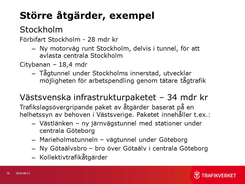 102016-09-21 Stockholm Förbifart Stockholm - 28 mdr kr – Ny motorväg runt Stockholm, delvis i tunnel, för att avlasta centrala Stockholm Citybanan – 18,4 mdr – Tågtunnel under Stockholms innerstad, utvecklar möjligheten för arbetspendling genom tätare tågtrafik Västsvenska infrastrukturpaketet – 34 mdr kr Trafikslagsövergripande paket av åtgärder baserat på en helhetssyn av behoven i Västsverige.