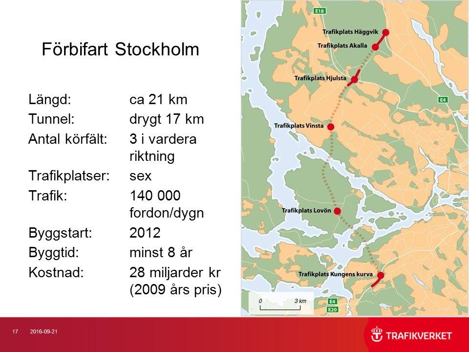 172016-09-21 Förbifart Stockholm Längd: ca 21 km Tunnel: drygt 17 km Antal körfält:3 i vardera riktning Trafikplatser: sex Trafik:140 000 fordon/dygn Byggstart: 2012 Byggtid: minst 8 år Kostnad: 28 miljarder kr (2009 års pris)