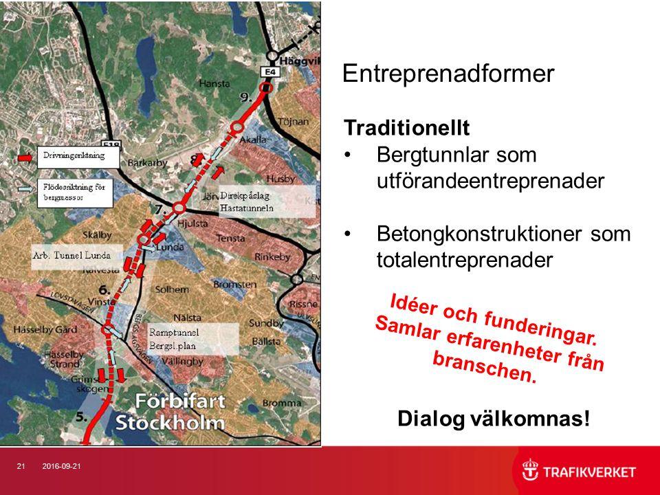212016-09-21 Entreprenadformer Traditionellt Bergtunnlar som utförandeentreprenader Betongkonstruktioner som totalentreprenader Dialog välkomnas.