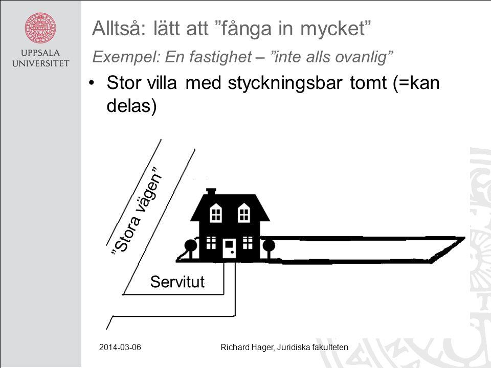 2014-03-06Richard Hager, Juridiska fakulteten Alltså: lätt att fånga in mycket Exempel: En fastighet – inte alls ovanlig Stor villa med styckningsbar tomt (=kan delas) Servitut Stora vägen