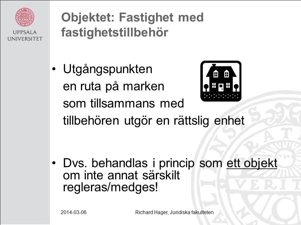 2014-03-06Richard Hager, Juridiska fakulteten Objektet: Fastighet med fastighetstillbehör Utgångspunkten en ruta på marken som tillsammans med tillbehören utgör en rättslig enhet Dvs.