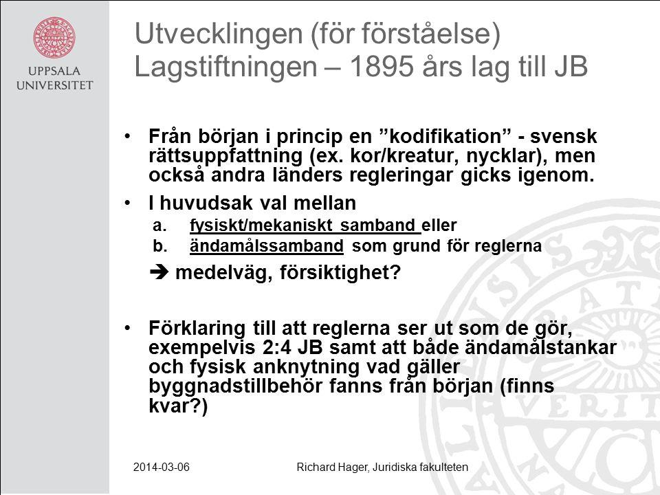 2014-03-06Richard Hager, Juridiska fakulteten Utvecklingen (för förståelse) Lagstiftningen – 1895 års lag till JB Från början i princip en kodifikation - svensk rättsuppfattning (ex.