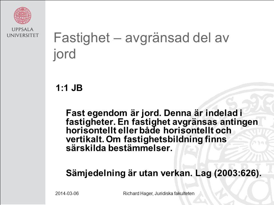 2014-03-06Richard Hager, Juridiska fakulteten Fastighet – avgränsad del av jord 1:1 JB Fast egendom är jord.