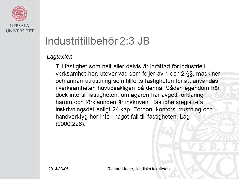 2014-03-06Richard Hager, Juridiska fakulteten Industritillbehör 2:3 JB Lagtexten Till fastighet som helt eller delvis är inrättad för industriell verksamhet hör, utöver vad som följer av 1 och 2 §§, maskiner och annan utrustning som tillförts fastigheten för att användas i verksamheten huvudsakligen på denna.