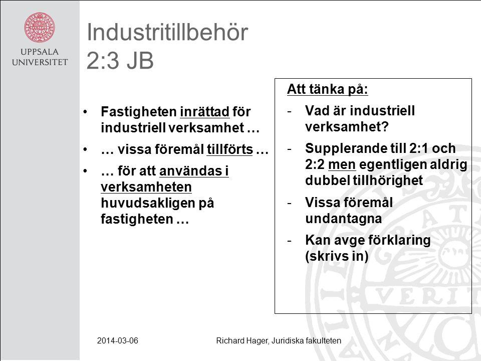 2014-03-06Richard Hager, Juridiska fakulteten Industritillbehör 2:3 JB Fastigheten inrättad för industriell verksamhet … … vissa föremål tillförts … … för att användas i verksamheten huvudsakligen på fastigheten … Att tänka på: -Vad är industriell verksamhet.