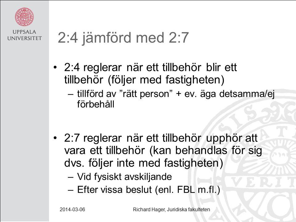 2014-03-06Richard Hager, Juridiska fakulteten 2:4 jämförd med 2:7 2:4 reglerar när ett tillbehör blir ett tillbehör (följer med fastigheten) –tillförd av rätt person + ev.
