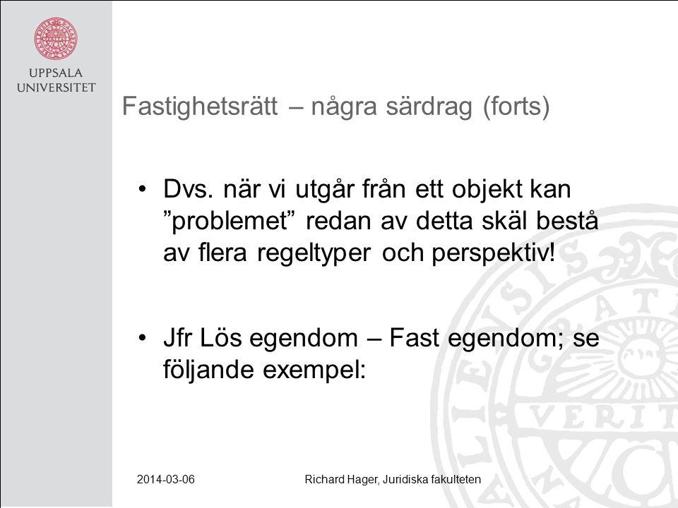 2014-03-06Richard Hager, Juridiska fakulteten Fastighetsrätt – några särdrag (forts) Dvs.
