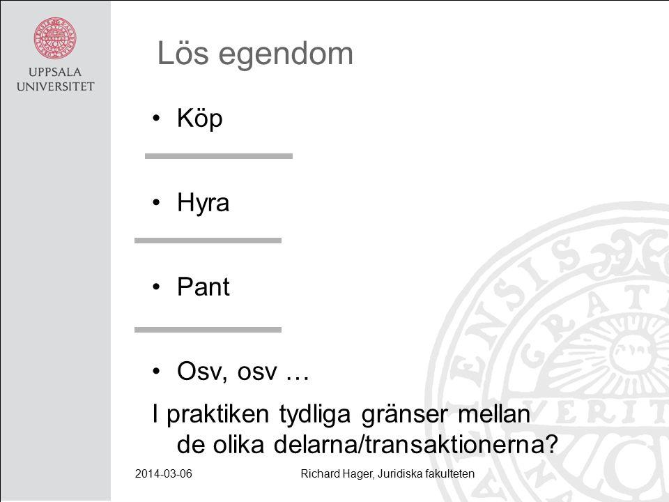 2014-03-06Richard Hager, Juridiska fakulteten Lös egendom Köp Hyra Pant Osv, osv … I praktiken tydliga gränser mellan de olika delarna/transaktionerna?
