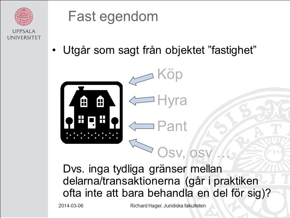 2014-03-06Richard Hager, Juridiska fakulteten Fast egendom Utgår som sagt från objektet fastighet Dvs.