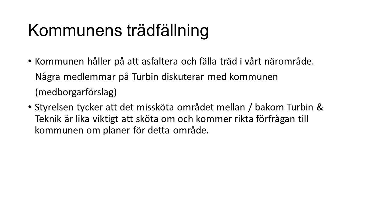 Kommunens trädfällning Kommunen håller på att asfaltera och fälla träd i vårt närområde. Några medlemmar på Turbin diskuterar med kommunen (medborgarf