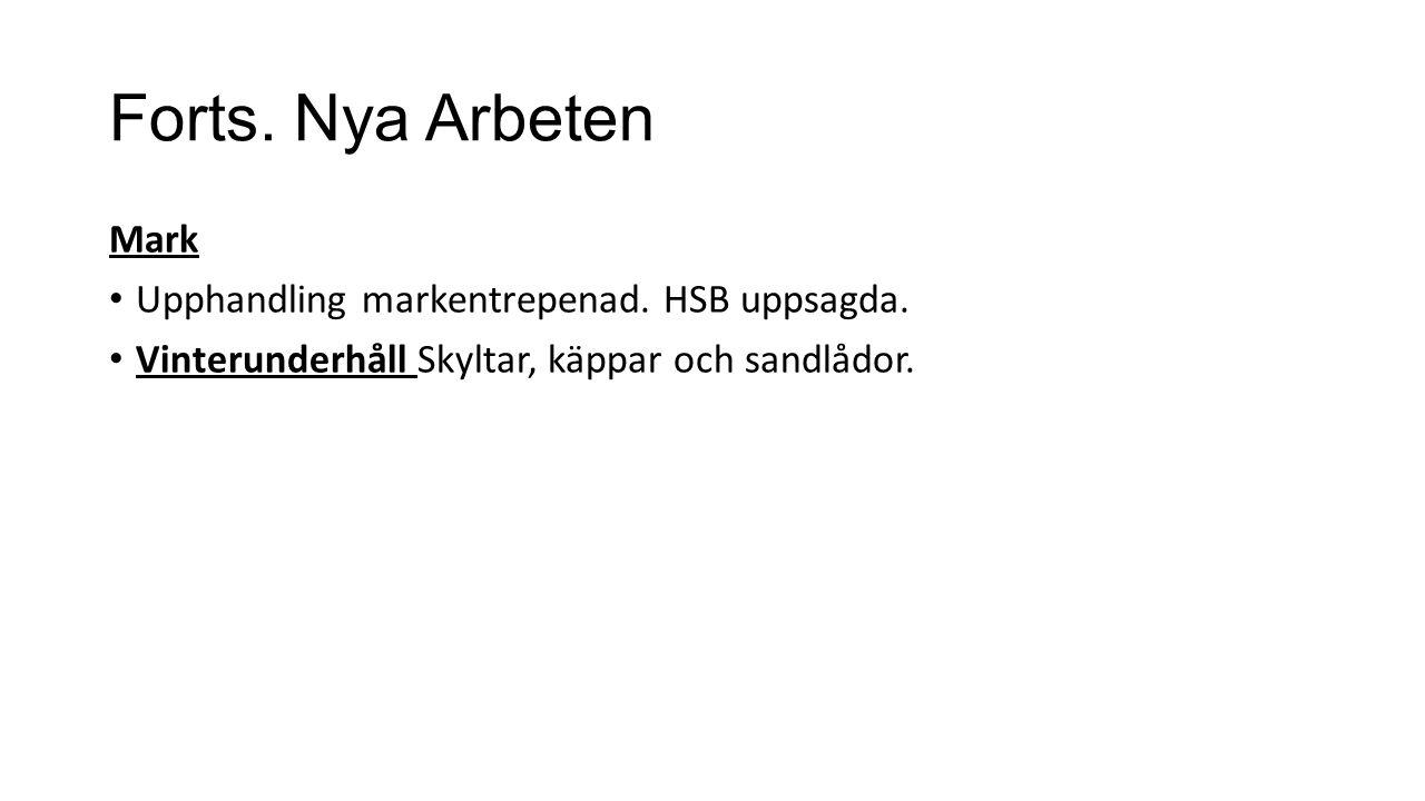 Forts. Nya Arbeten Mark Upphandling markentrepenad. HSB uppsagda. Vinterunderhåll Skyltar, käppar och sandlådor.