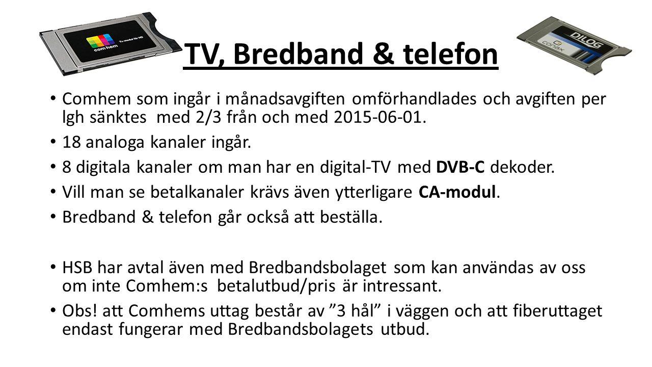 T TV, Bredband & telefon Comhem som ingår i månadsavgiften omförhandlades och avgiften per lgh sänktes med 2/3 från och med 2015-06-01.