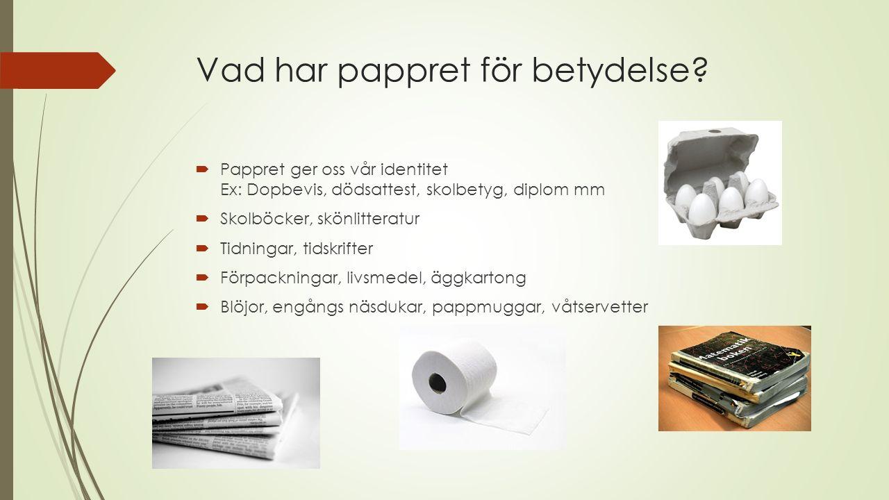 Vad har pappret för betydelse.