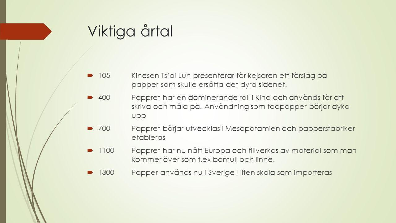 Viktiga årtal  ~ 1500 Papper börjar tillverkas i Sverige  1573Det första pappersbruket öppnar i Sverige  1738Kungen i Sverige bestämmer att varje hushåll skall bidra med en viss mängd lump, annars blir det böter.