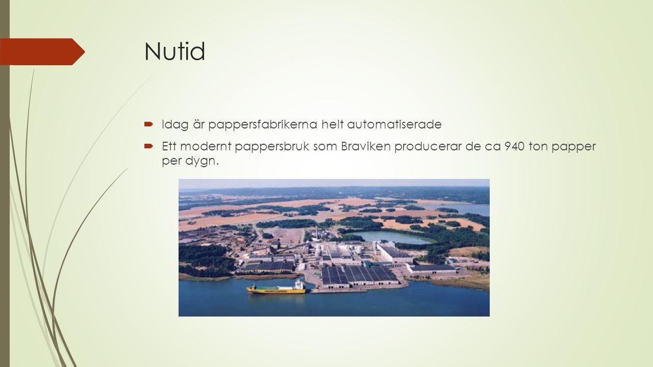 Nutid  Idag är pappersfabrikerna helt automatiserade  Ett modernt pappersbruk som Braviken producerar de ca 940 ton papper per dygn.