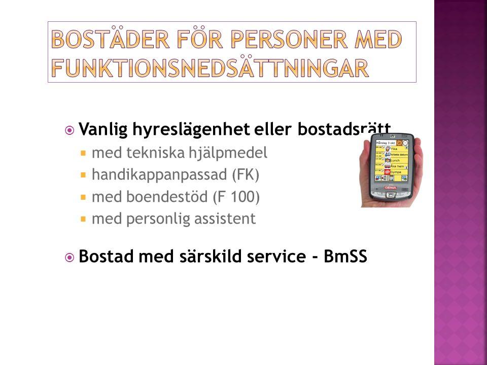  Vanlig hyreslägenhet eller bostadsrätt  med tekniska hjälpmedel  handikappanpassad (FK)  med boendestöd (F 100)  med personlig assistent  Bostad med särskild service - BmSS