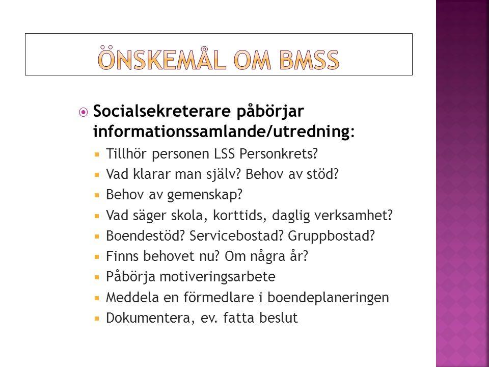  Socialsekreterare påbörjar informationssamlande/utredning:  Tillhör personen LSS Personkrets.