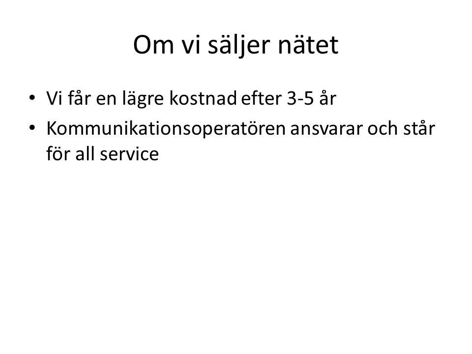 Om vi säljer nätet Vi får en lägre kostnad efter 3-5 år Kommunikationsoperatören ansvarar och står för all service