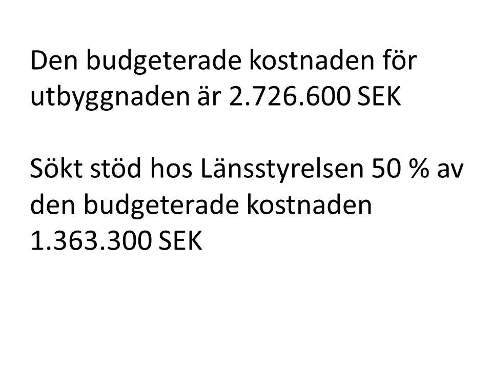 Den budgeterade kostnaden för utbyggnaden är 2.726.600 SEK Sökt stöd hos Länsstyrelsen 50 % av den budgeterade kostnaden 1.363.300 SEK