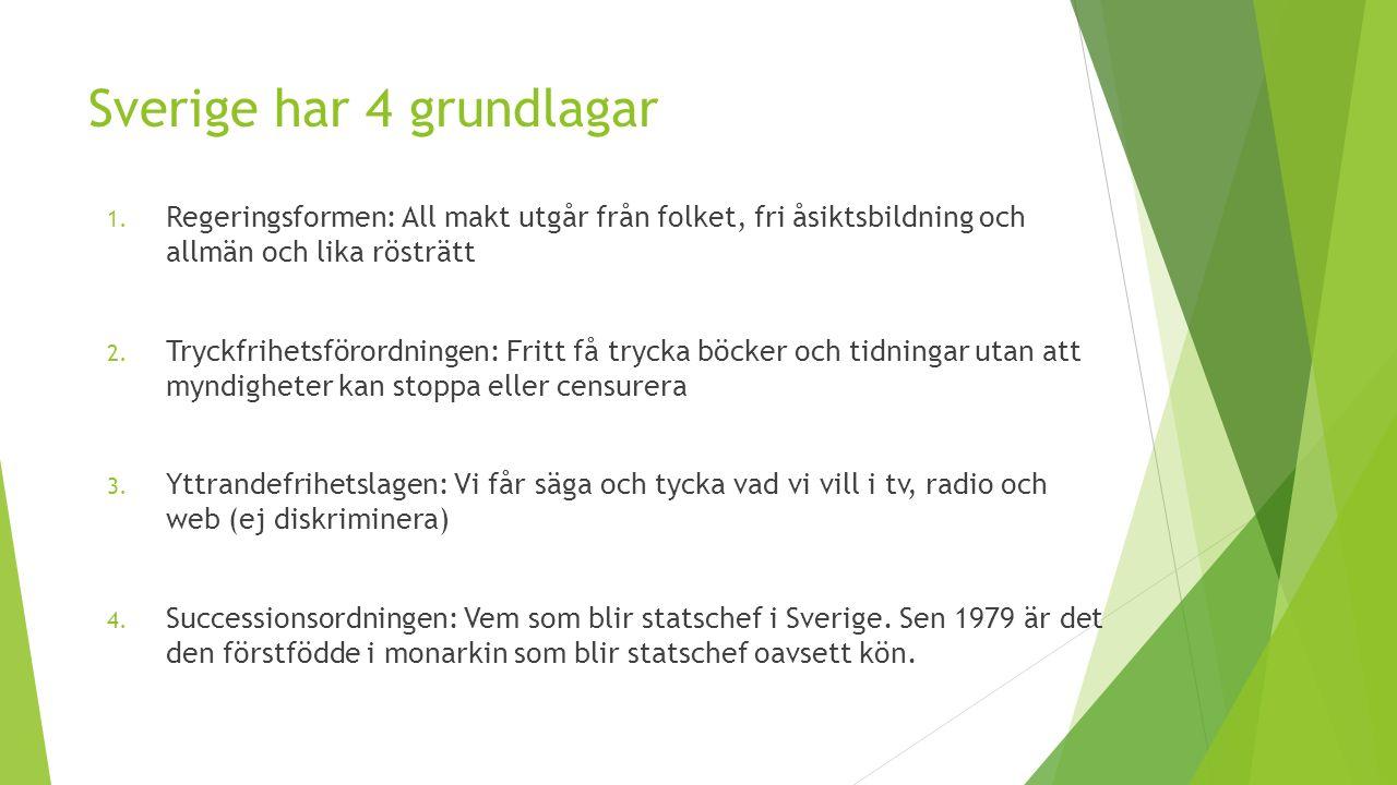 Sverige har 4 grundlagar 1. Regeringsformen: All makt utgår från folket, fri åsiktsbildning och allmän och lika rösträtt 2. Tryckfrihetsförordningen: