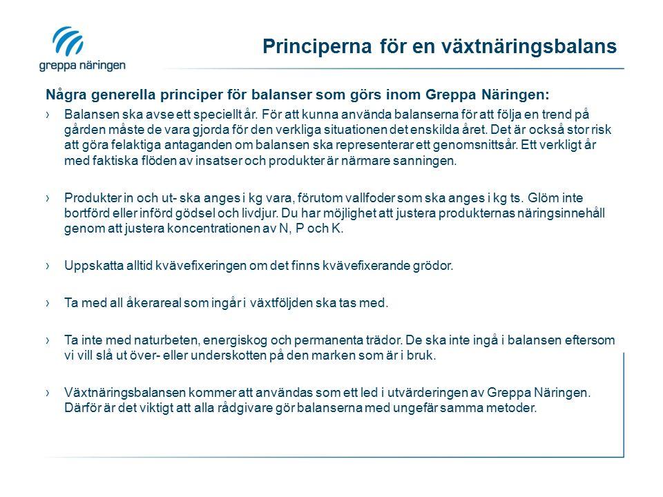 Principerna för en växtnäringsbalans Några generella principer för balanser som görs inom Greppa Näringen: ›Balansen ska avse ett speciellt år. För at