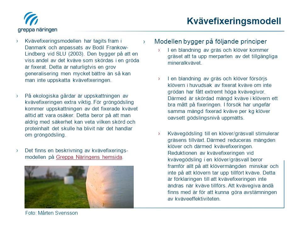 Kvävefixeringsmodell ›Kvävefixeringsmodellen har tagits fram i Danmark och anpassats av Bodil Frankow- Lindberg vid SLU (2003). Den bygger på att en v
