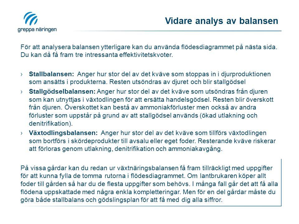 Vidare analys av balansen För att analysera balansen ytterligare kan du använda flödesdiagrammet på nästa sida. Du kan då få fram tre intressanta effe