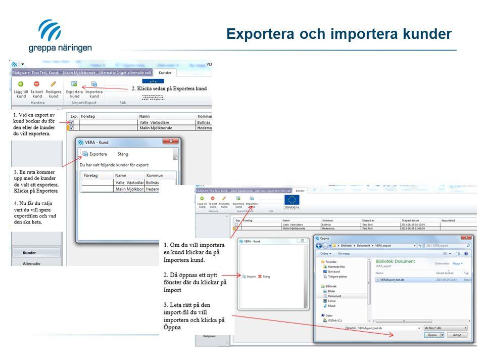 Exportera och importera kunder
