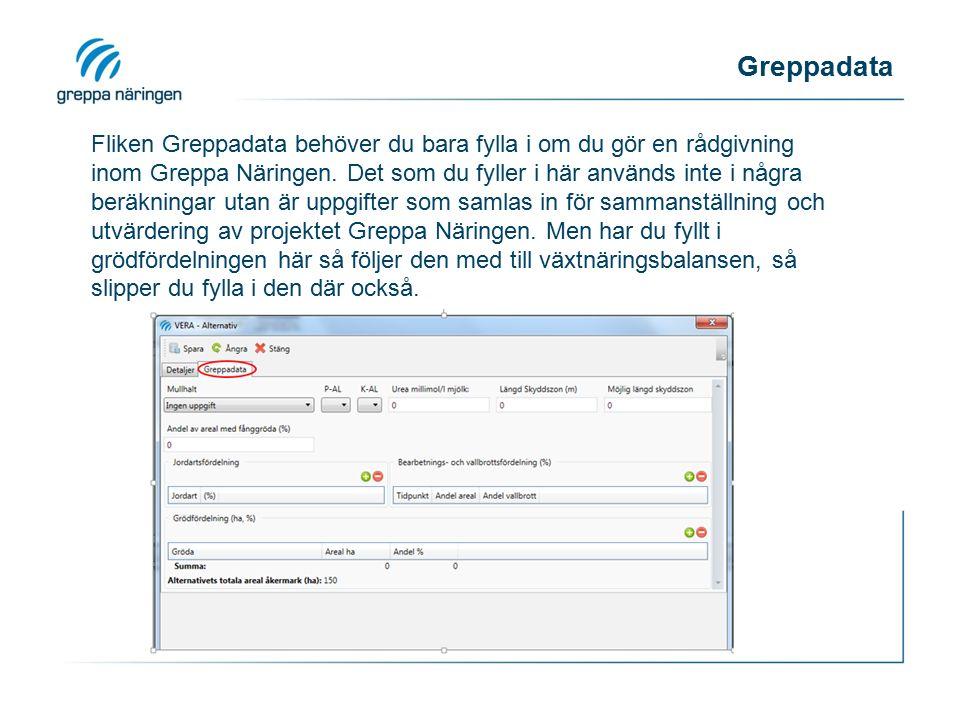 Greppadata Fliken Greppadata behöver du bara fylla i om du gör en rådgivning inom Greppa Näringen. Det som du fyller i här används inte i några beräkn