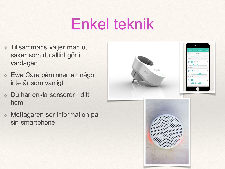 ❖ Tillsammans väljer man ut saker som du alltid gör i vardagen ❖ Ewa Care påminner att något inte är som vanligt ❖ Du har enkla sensorer i ditt hem ❖ Mottagaren ser information på sin smartphone Enkel teknik