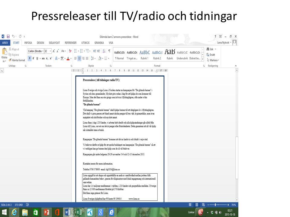 Pressreleaser till TV/radio och tidningar