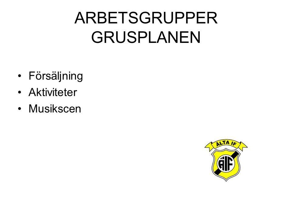 ARBETSGRUPPER GRUSPLANEN Försäljning Aktiviteter Musikscen