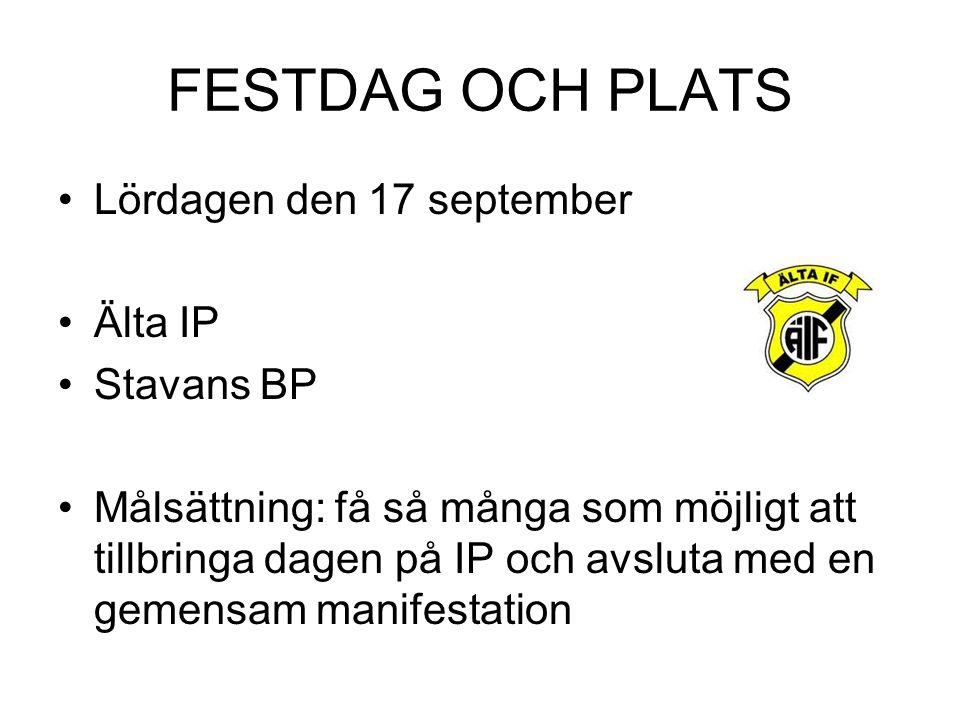 FESTDAG OCH PLATS Lördagen den 17 september Älta IP Stavans BP Målsättning: få så många som möjligt att tillbringa dagen på IP och avsluta med en gemensam manifestation