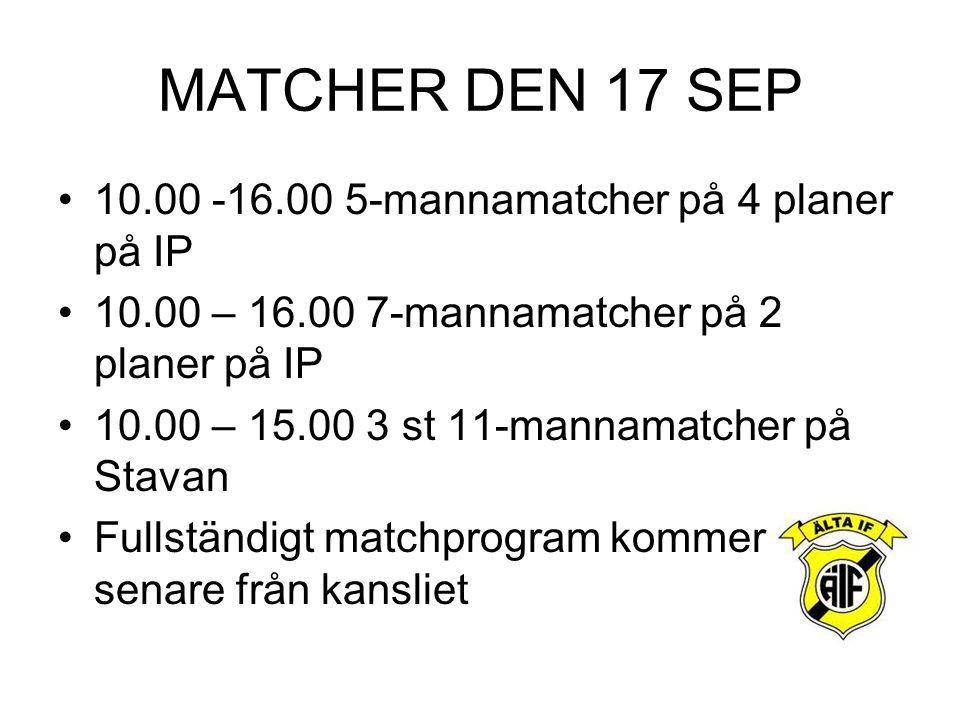 MATCHER DEN 17 SEP 10.00 -16.00 5-mannamatcher på 4 planer på IP 10.00 – 16.00 7-mannamatcher på 2 planer på IP 10.00 – 15.00 3 st 11-mannamatcher på Stavan Fullständigt matchprogram kommer senare från kansliet
