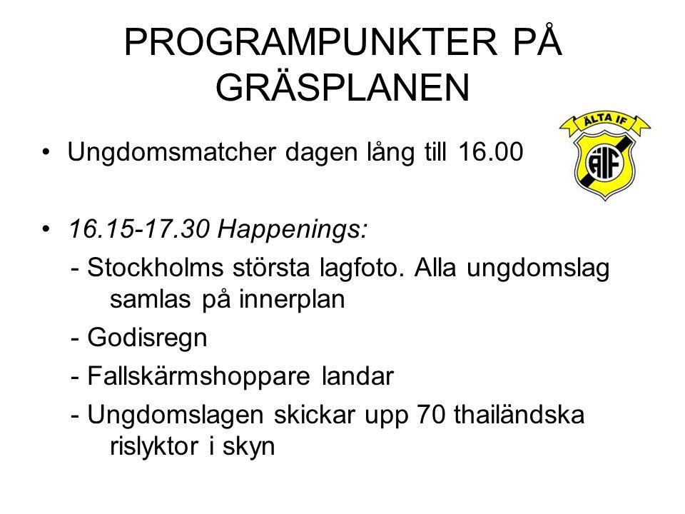 PROGRAMPUNKTER PÅ GRÄSPLANEN Ungdomsmatcher dagen lång till 16.00 16.15-17.30 Happenings: - Stockholms största lagfoto.