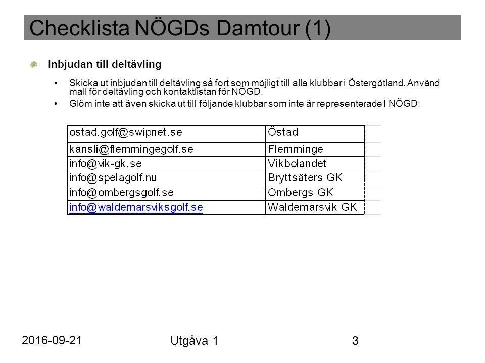 Checklista NÖGDs Damtour (1) Inbjudan till deltävling Skicka ut inbjudan till deltävling så fort som möjligt till alla klubbar i Östergötland.