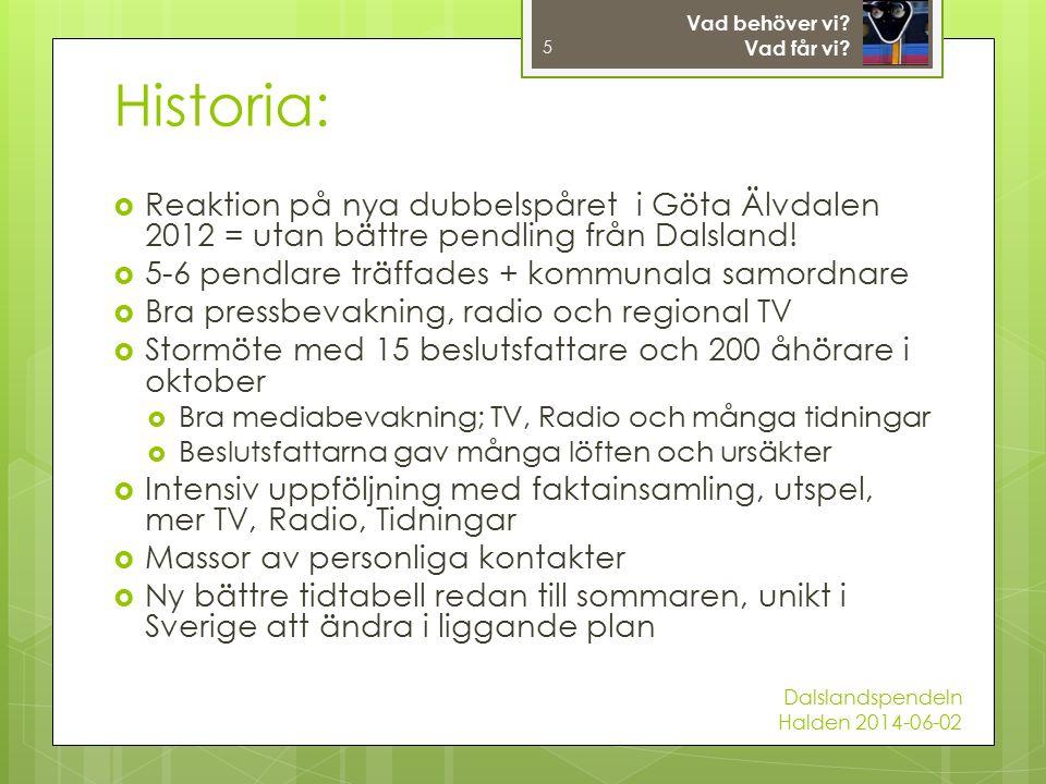  Reaktion på nya dubbelspåret i Göta Älvdalen 2012 = utan bättre pendling från Dalsland.