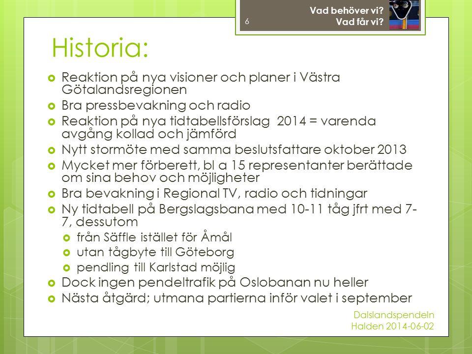  Reaktion på nya visioner och planer i Västra Götalandsregionen  Bra pressbevakning och radio  Reaktion på nya tidtabellsförslag 2014 = varenda avgång kollad och jämförd  Nytt stormöte med samma beslutsfattare oktober 2013  Mycket mer förberett, bl a 15 representanter berättade om sina behov och möjligheter  Bra bevakning i Regional TV, radio och tidningar  Ny tidtabell på Bergslagsbana med 10-11 tåg jfrt med 7- 7, dessutom  från Säffle istället för Åmål  utan tågbyte till Göteborg  pendling till Karlstad möjlig  Dock ingen pendeltrafik på Oslobanan nu heller  Nästa åtgärd; utmana partierna inför valet i september 6 Vad behöver vi.